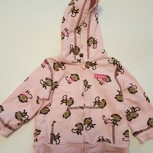 Girls Carters Pink Hoodie with Monkeys 12mo